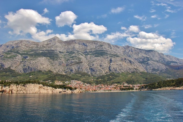Sailing away from Makarska Harbor, Makarska, Croatia