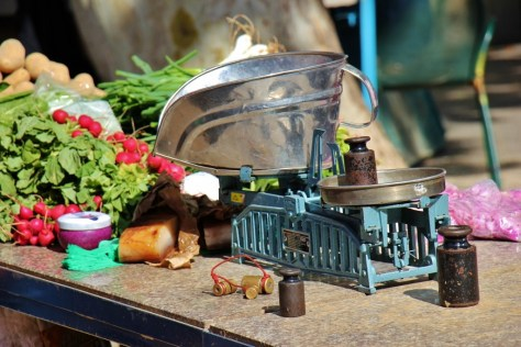Weights and Balances scale at Green Market in Split, Croatia