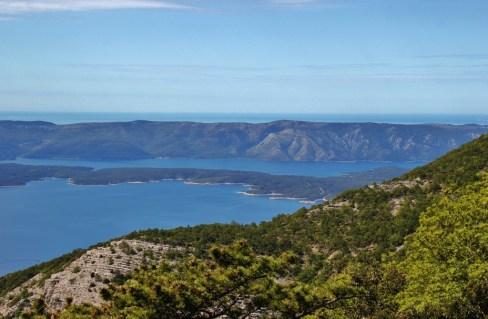 Island and sea views from trail while hiking Vidova Gora on on Brac, Croatia