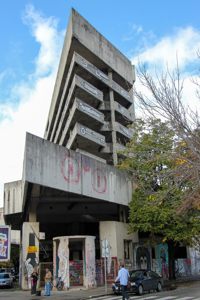 Concrete building shell called Sniper Tower in Mostar, Bosnia and Herzegovina