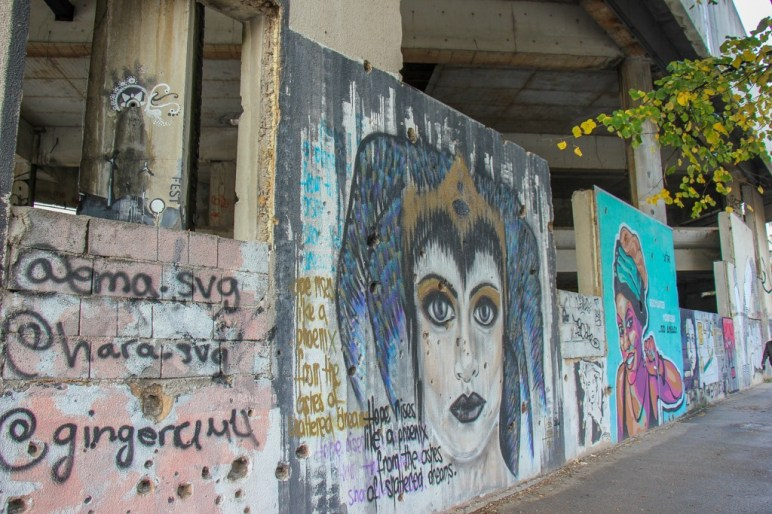 Street art at the base of Sniper Tower in Mostar, Bosnia and Herzegovina