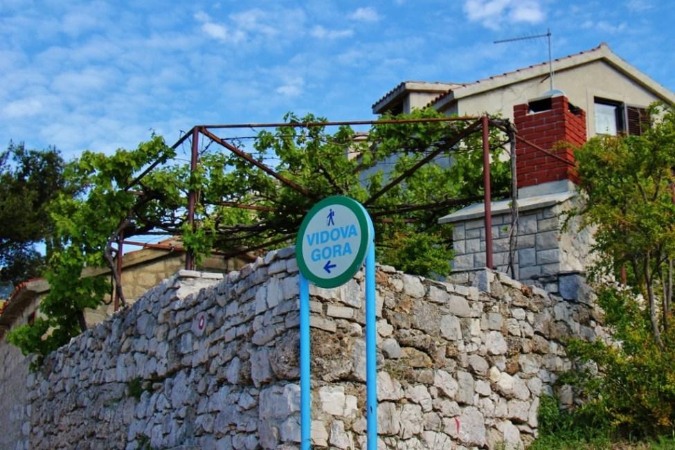 Trailhead marker for hiking Vidova Gora from Bol, Brac, Croatia