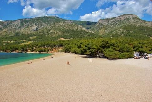 Vidova Gora mountain from Zlatni Rat Beach in Bol, Brac, Croatia