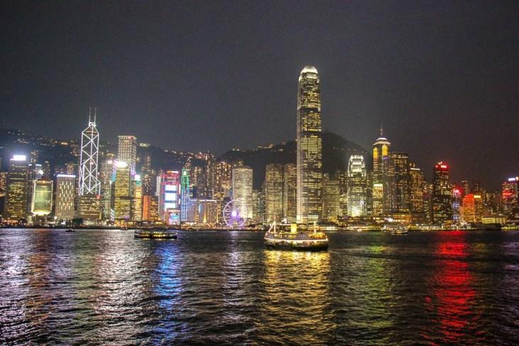 View of Hong Kong Island from TST at night
