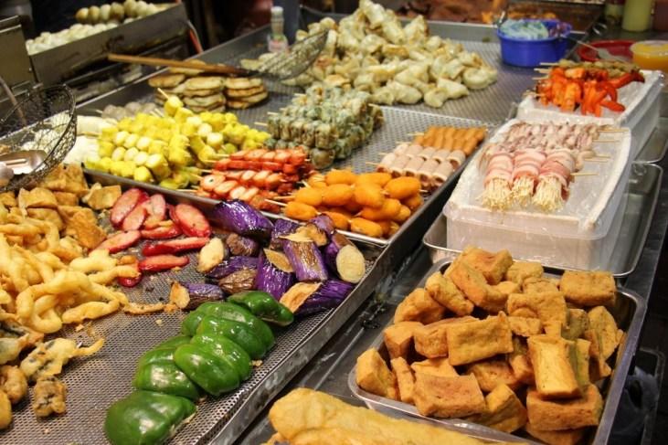 Grilled Street Food at market in Hong Kong