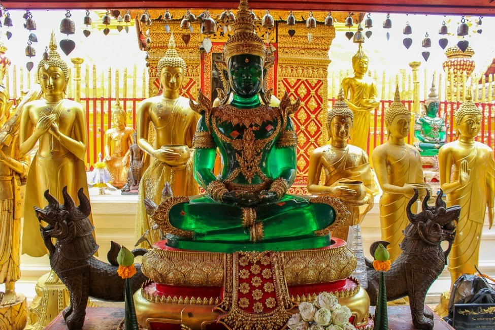 Replica Emerald Buddha Statue at Doi Suthep Temple in Chiang Mai, Thailand