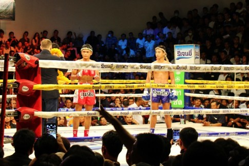 Fighters in the ring at a Muay Thai Fight at Channel 7 in Bangkok, Thailand