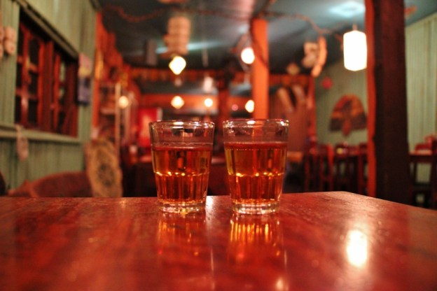Two shots of Lao Lao Whisky in Pakbeng, Laos