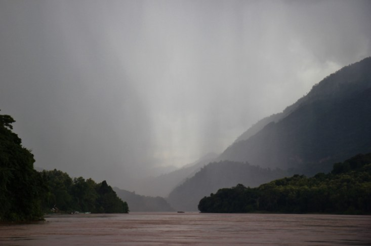 Stormy weather on the Mekong River, Laos