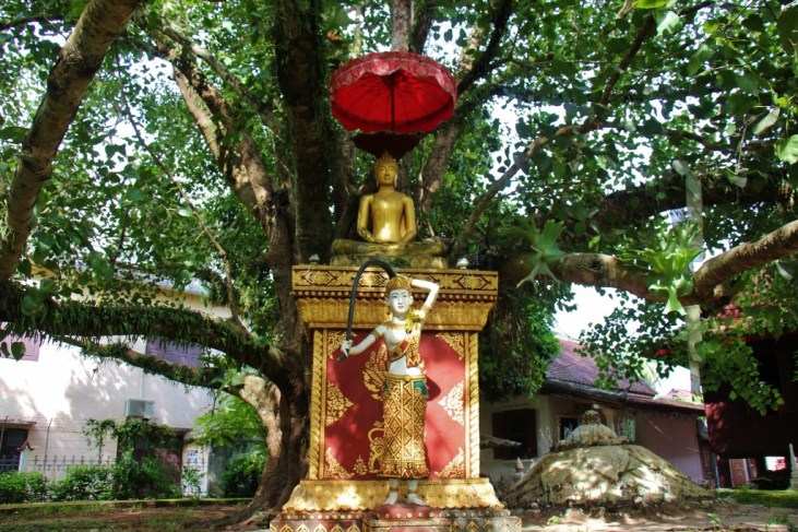 Buddha statue under the Bodhi Tree, Wat Visoun, Luang Prabang, Laos