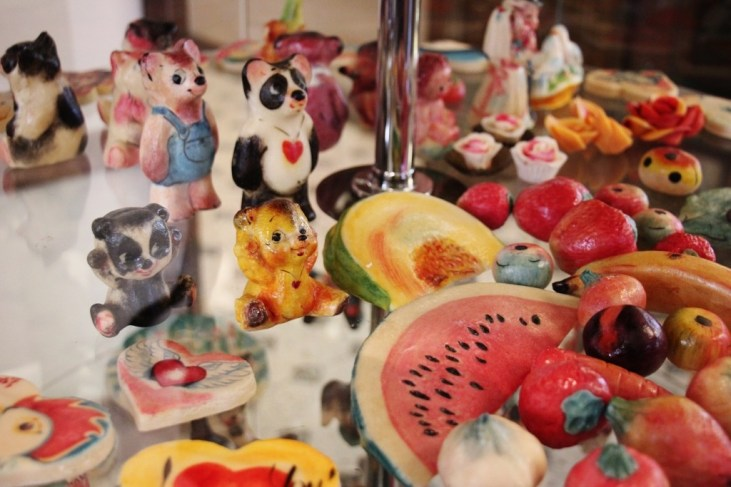 Painted Marzipan figurines on display at Kalev Marzipan Museum room in Tallinn, Estonia