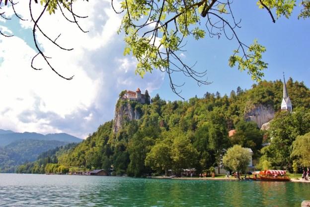 Lake Bled Castle on cliff over Lake Bled, Slovenia