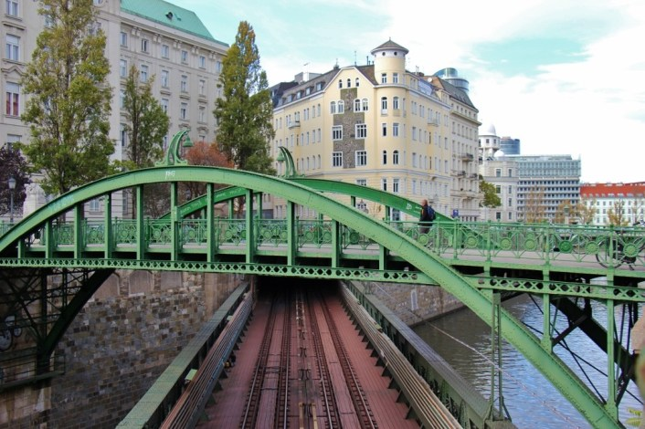 Metro tracks and pedestrian bridge on Wien River in Vienna, Austria