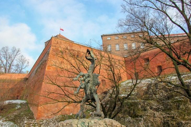 Fire-breathing dragon at Wawel Castle in Krakow, Poland