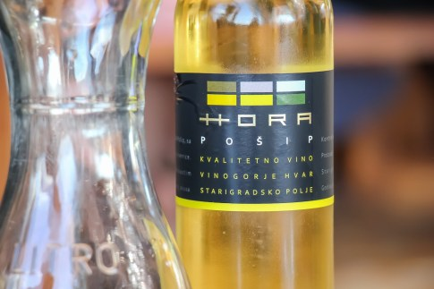 Bottle of Hora Posip Wine at winery in Stari Grad, Croatia