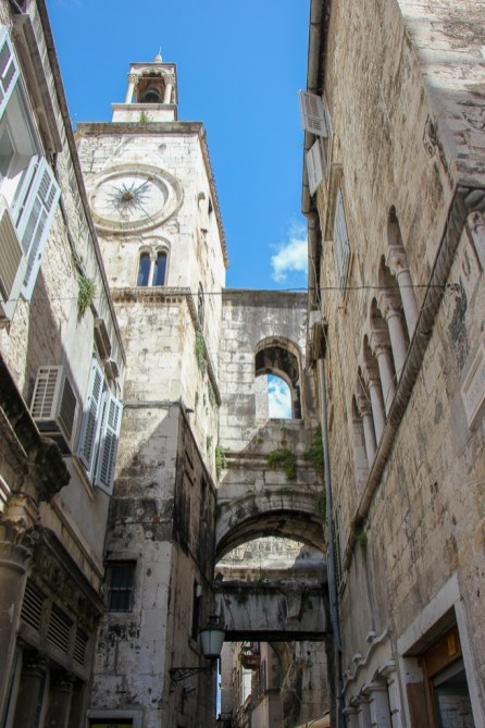 Iron Gate entrance into Diocletian's Palace in Split, Croatia