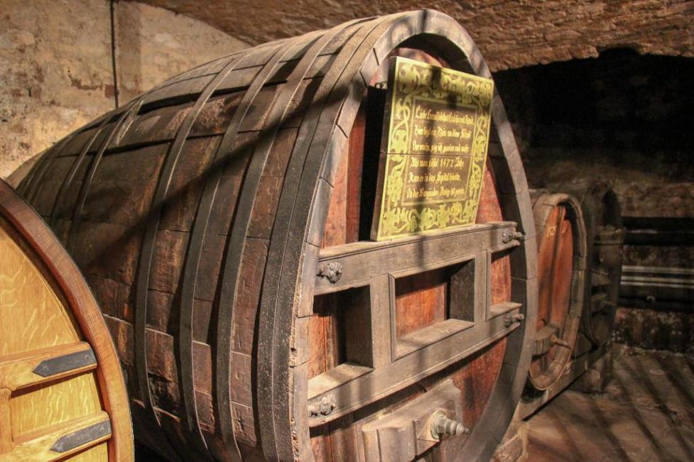 Wine barrel holding oldest wine in the world at Cave Historique des Hospices in Strasbourg, France