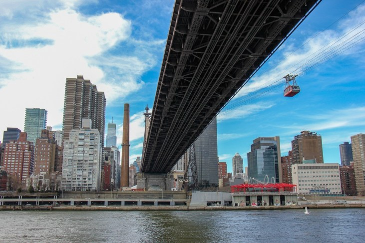 Aerial Roosevelt Tramway connecting Manhattan to Roosevelt Island in New York City, New York