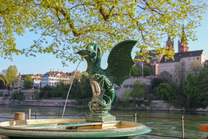 Basilisk reptile fountain in Basel, Switzerland