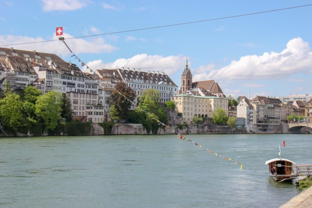 River-powered ferry boat in Basel, Switzerland
