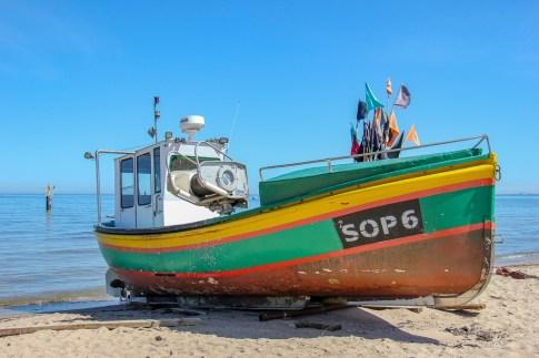 Colorful Kahubian boat at the Sopot Fishing Harbor in Sopot, Poland
