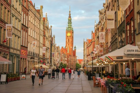 Long Street and Town Hall in Old Town Gdansk, Poland