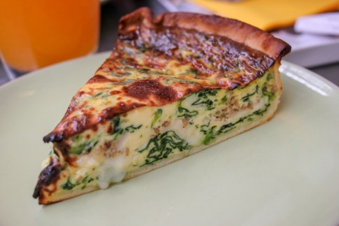 Spinach and cheese quiche at Market Halle in Colmar, France