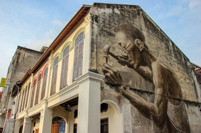 Street Art on building in Chinatown in Kuala Lumpur, Malaysia