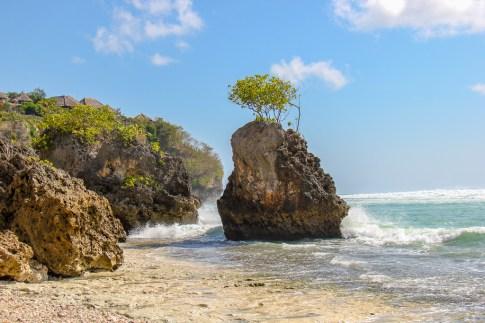 Rocky outcrops at Bingin Beach in Uluwatu, Bali, Indonesia