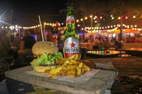 Burger, fries and Bintang at Old Man's in Canggu, Bali, Indonesia