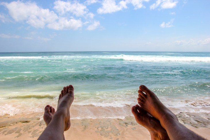 Relaxing at Kelly's Warung at Bingin Beach in Uluwatu, Bali, Indonesia