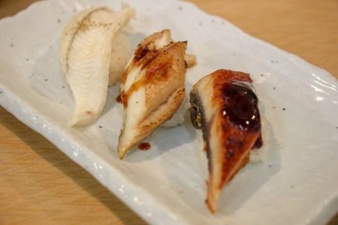 Three-piece sushi set at sushi restaurant in Tsukiji Outer Market in Tokyo, Japan
