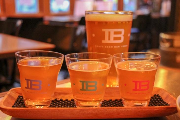 Beer flight tasting paddle at Craft Beer Bar IBREW in Tokyo, Japan