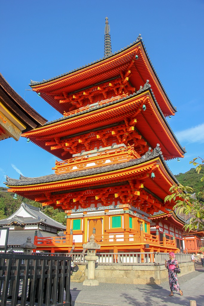 Colorful pagoda at Kiyomizu-dera Temple in Kyoto, Japan