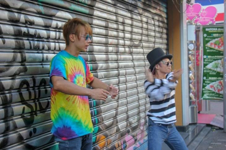 Street dancers entertain on Takeshita dori in Tokyo, Japan