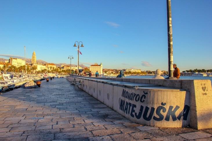 Matejuska Fisherman's Port at sunset in Split, Croatia