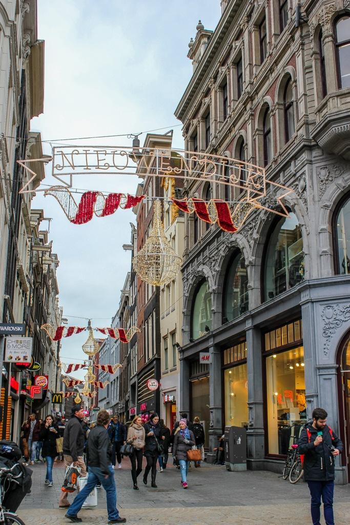 Christmas lights on Nieuwendijk, Amsterdam