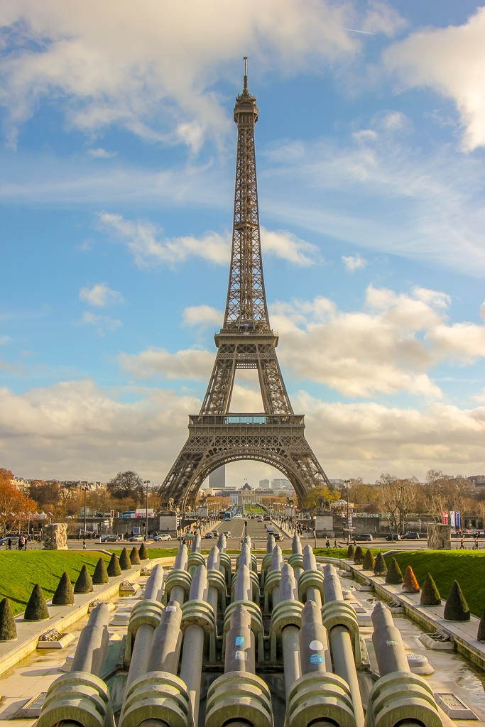 Trocadero fountains and Eiffel Tower in Paris, France