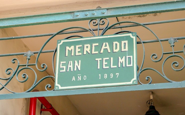 Mercado San Telmos sign on Defensa Street in Buenos Aires, Argentina