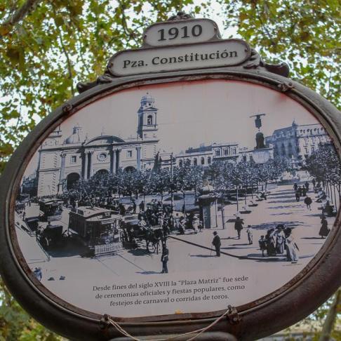 Historic Plaza Constitucion sign in Montevideo, Uruguay