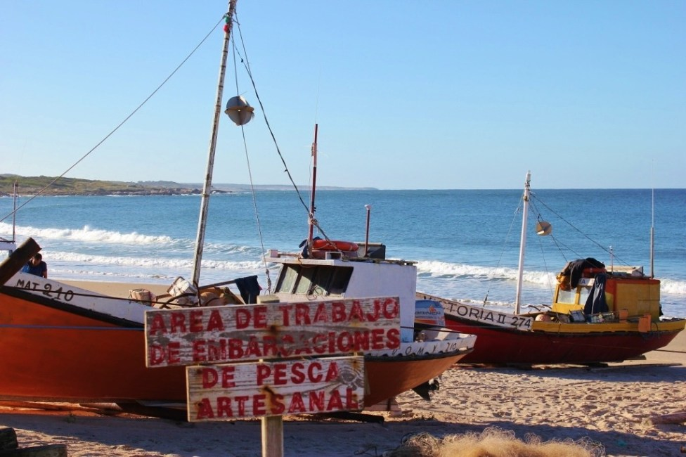 Fishing boat on Playa Pescadores in Punta del Diablo, Uruguay