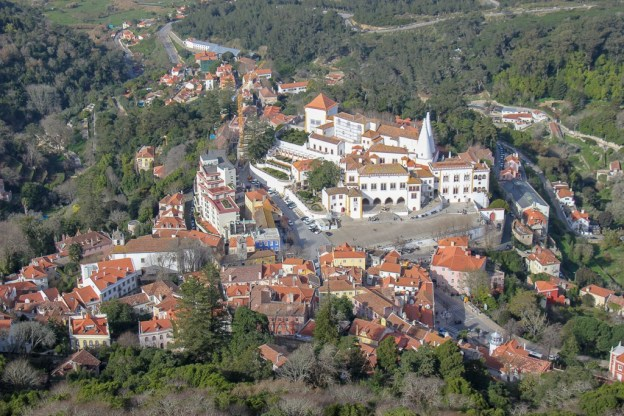 View of the Sintra National Palace from Moorish Castle in Sintra, Portugal