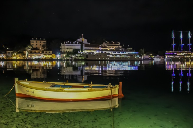 Boats in harbor at night in Pomena Port on Mljet Island, Croatia