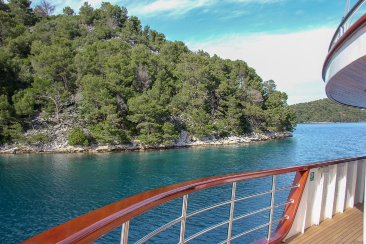 Sailing past Mljet Island aboard Sail Croatia Explorer Cruise Almissa Ship