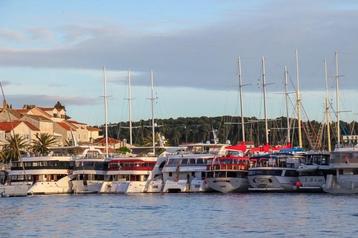 Ships docked at Hvar Town Port on Hvar Island, Croatia