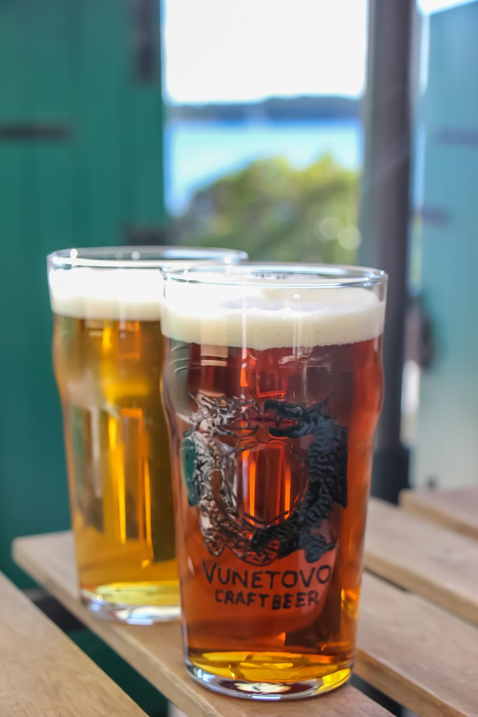 Two pints of beer at Vunetovo Craft Beer bar in Hvar Town, Croatia