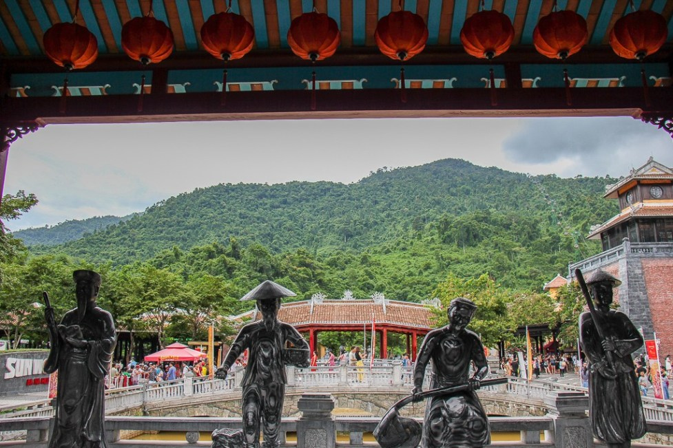 Statue-lined bridge at entrance to Ba Na Hills in Da Nang, Vietnam