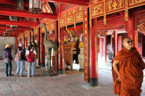 Colorful interior of building at Temple of Literature in Hanoi, Vietnam