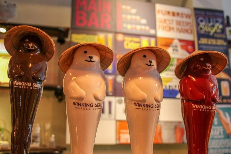 Tap Handles, Winking Seal Craft Beer, Saigon, HCMC, Vietnam