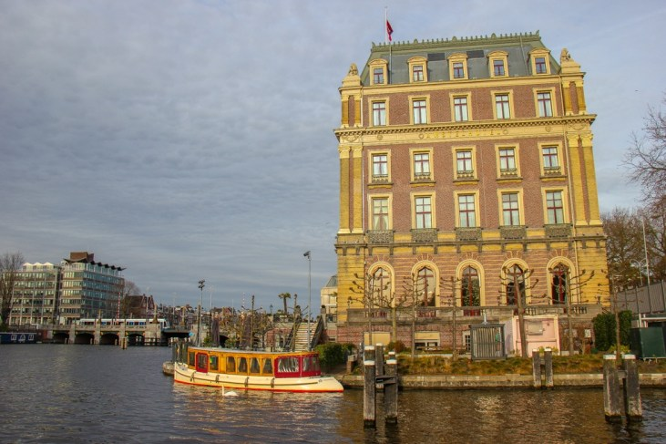 Amstel Canal and Hotel, Amsterdam, Netherlands